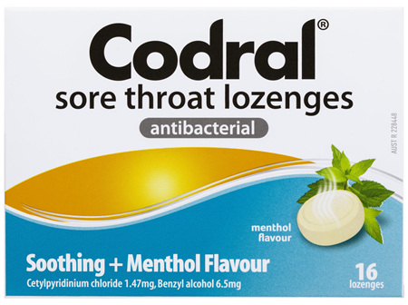 Codral Sore Throat Lozenges Antibacterial Menthol 16 Pack