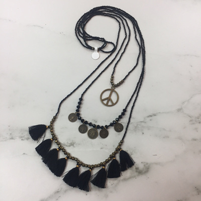 Coin Layer Necklace - Midnight Black