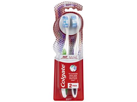 Colgate 360° Advanced Optic White Manual Toothbrush, Value 2 Pack, Soft Bristles, Teeth Whitening