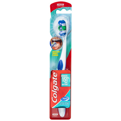 Colgate 360° Whole Mouth Clean 25% Recycled Plastic Handle Manual Toothbrush Medium Bristles 1 Pack