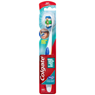 Colgate 360° Whole Mouth Clean Manual Toothbrush, 1 Pack, Soft Bristles