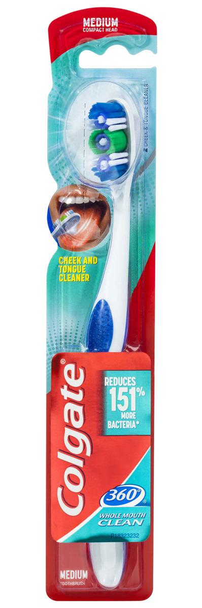 Colgate 360° Whole Mouth Clean Manual Toothbrush, 1 Pack, Medium Bristles
