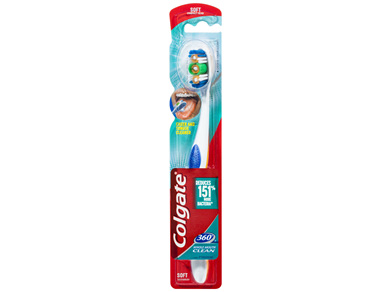 Colgate 360° Whole Mouth Clean Manual Toothbrush Soft Bristles with Cheek and Tongue Cleaner 1 Pack