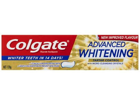 Colgate Advanced Teeth Whitening & Tartar Control Toothpaste, 120g with Microcleansing Crystals and