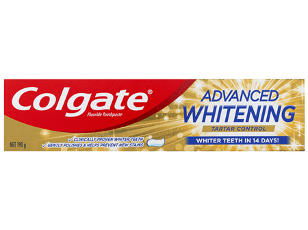 Colgate Advanced Teeth Whitening & Tartar Control Toothpaste, 190g with Microcleansing Crystals and