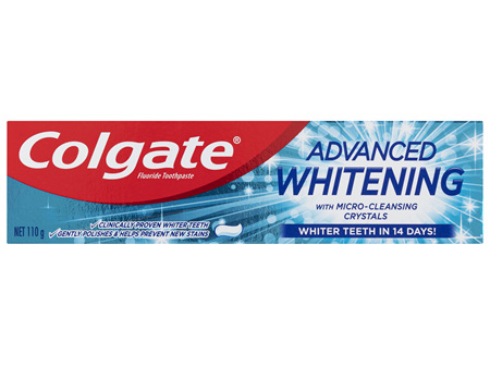Colgate Advanced Teeth Whitening Toothpaste, 110g with Microcleansing Crystals and Fluoride