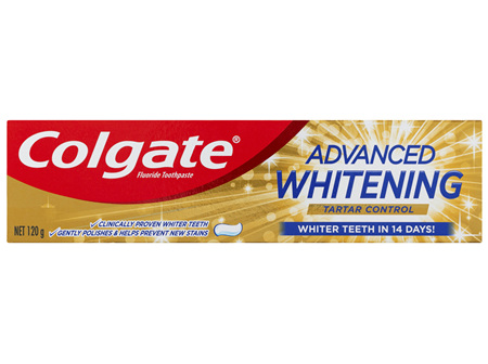 Colgate Advanced Whitening Tartar Control Teeth Whitening Toothpaste, 120g, With Micro Cleansing