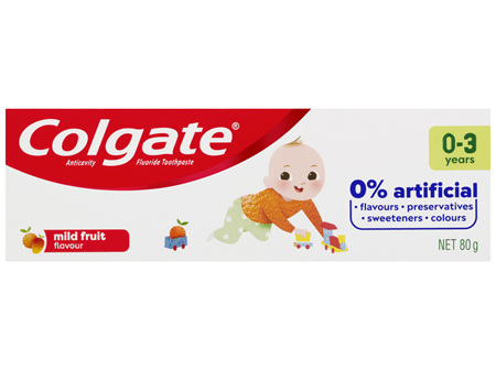 Colgate Kids Anticavity Fluoride Toothpaste 80g, 0-3 Years, Mild Fruit Flavour, 0% Artificial