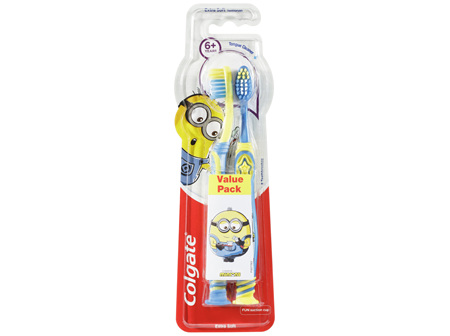 Colgate Kids Minions Extra Soft Bristles Manual Toothbrush for Children 6+ Years Value 2 Pack