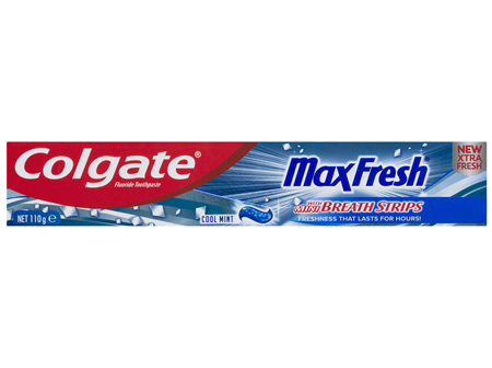 Colgate Max Fresh Breath Toothpaste with Mini Breath Strips Cool Mint 110g