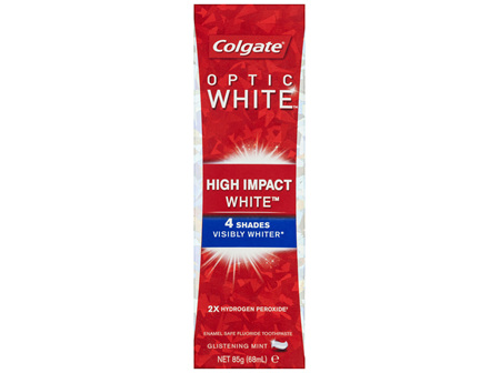 Colgate Optic White High Impact White Glistening Mint Whitening Toothpaste with hydrogen peroxide