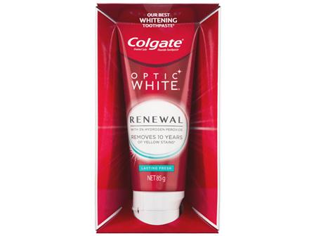 Colgate Optic White Renewal Teeth Whitening Toothpaste 85g, Lasting Fresh, Enamel Safe, with 3%