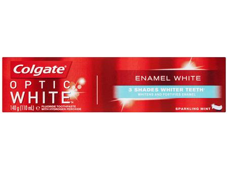 Colgate Optic White Teeth Whitening Toothpaste 140g, Enamel White, Sparkling Mint with 1% Hydrogen