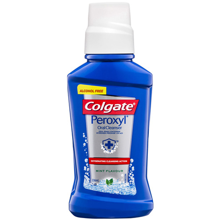 Colgate Peroxyl Rinse Oral Cleanser Mouthwash Mint Flavour with Hydrogen Peroxide 236mL