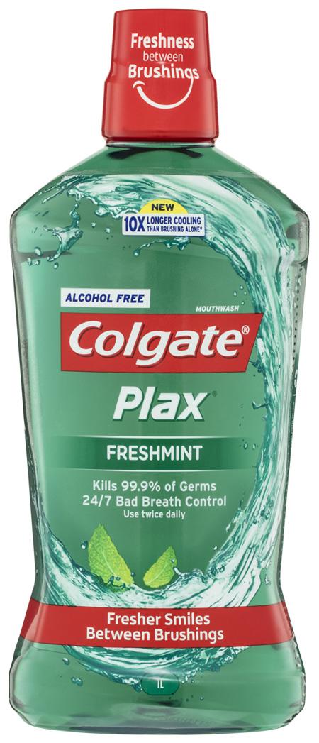 Colgate Plax Antibacterial Alcohol Free Mouthwash Freshmint 1L