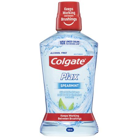 Colgate Plax Antibacterial Alcohol Free Spearmint Mouthwash 500mL