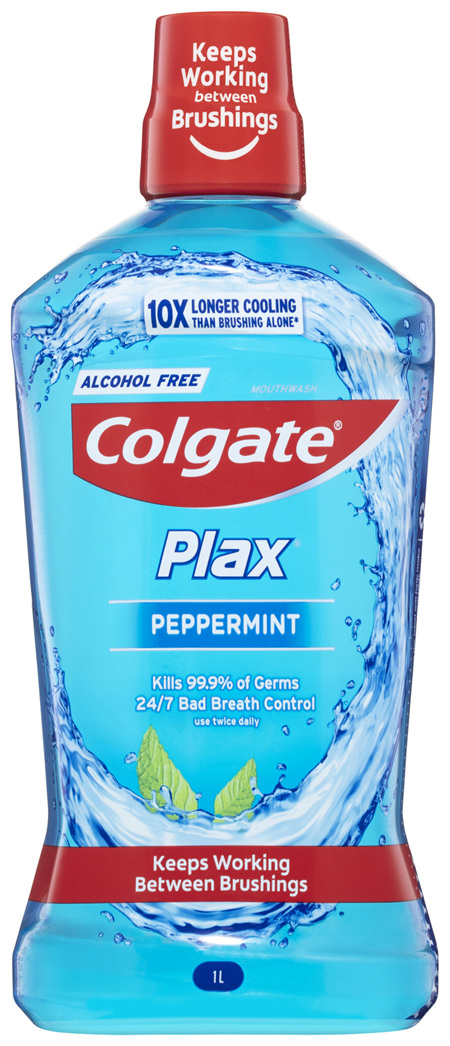 Colgate Plax Antibacterial Mouthwash 1L, Alcohol Free, Peppermint, Bad Breath Control