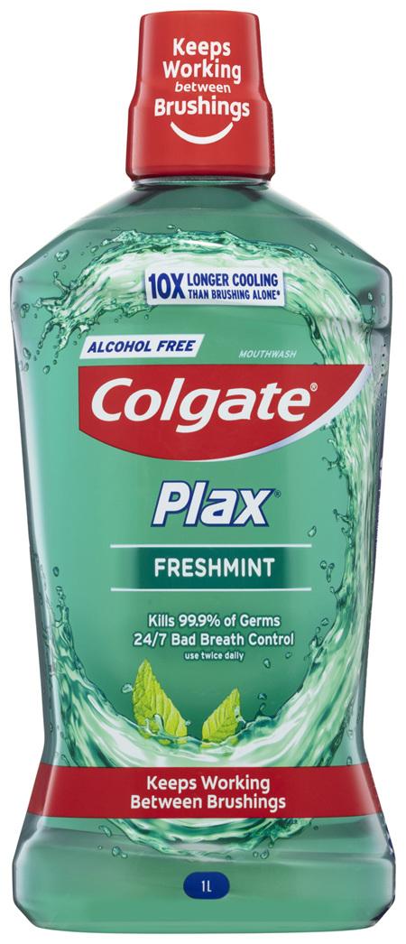Colgate Plax Antibacterial Mouthwash 1L, Freshmint, Alcohol Free, Bad Breath Control