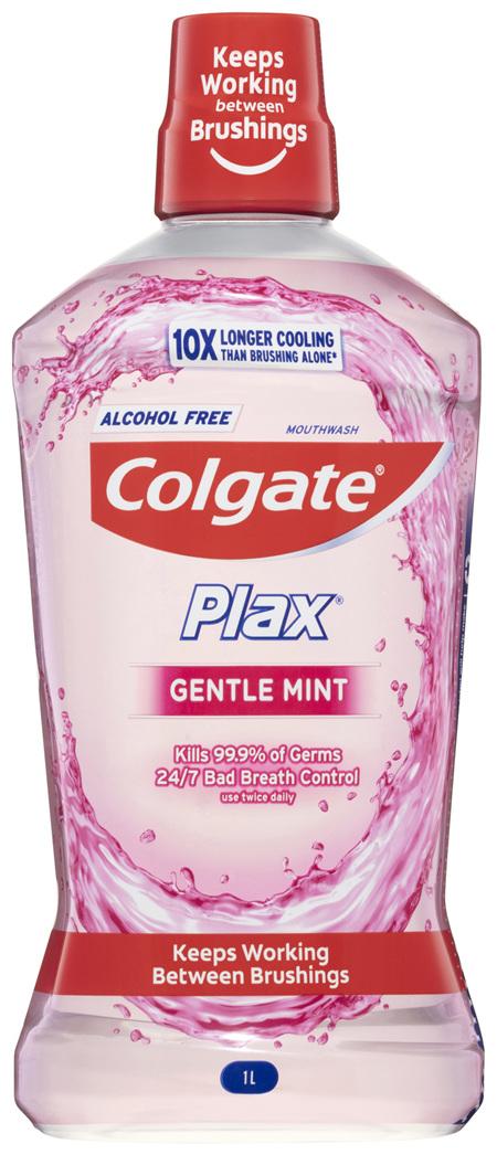 Colgate Plax Antibacterial Mouthwash 1L, Gentle Mint, Alcohol Free, Bad Breath Control