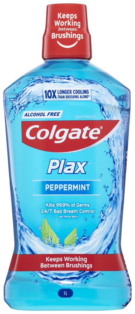 Colgate Plax Antibacterial Mouthwash 1L, Peppermint, Alcohol Free, Bad Breath Control