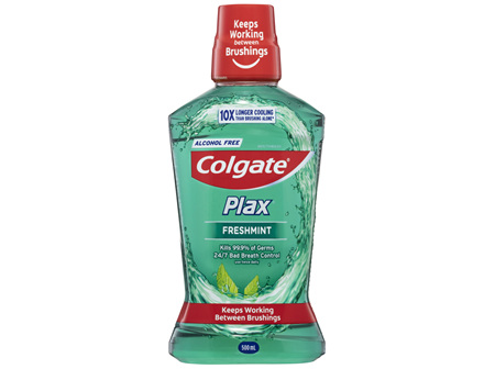 Colgate Plax Antibacterial Mouthwash 500mL, Alcohol Free, Freshmint, Bad Breath Control