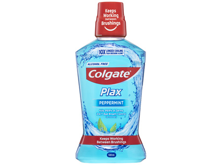 Colgate Plax Antibacterial Mouthwash 500mL, Alcohol Free, Peppermint, Bad Breath Control