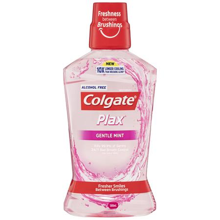 Colgate Plax Antibacterial Mouthwash 500mL, Alcohol Free, Gentle mint, Bad Breath Control