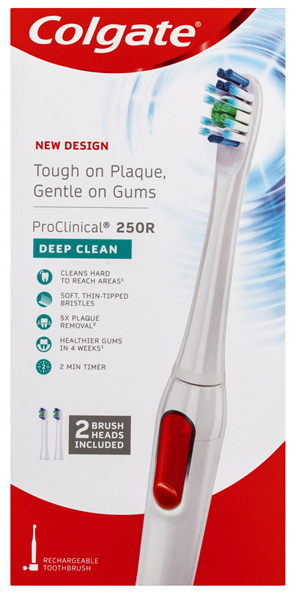 Colgate ProClinical 250R Deep Clean White Sonic Electric Power Toothbrush with 2 Brush Head Refills