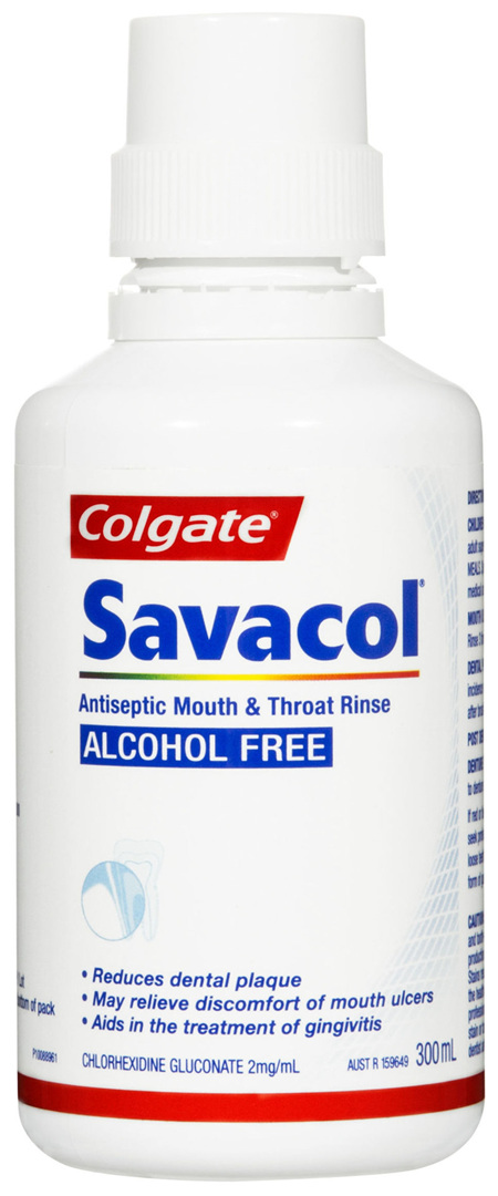 Colgate Savacol Antiseptic Mouth and Throat Rinse Mouthwash, 300mL, Alcohol Free