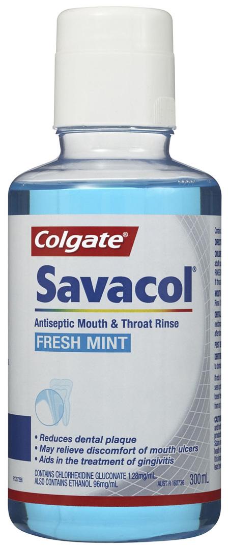 Colgate Savacol Antiseptic Mouth and Throat Rinse Mouthwash, 300mL, Fresh Mint