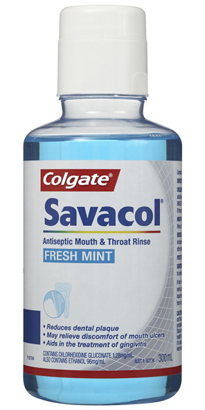 Colgate Savacol Antiseptic Mouth & Throat Rinse Fresh Mint 300mL