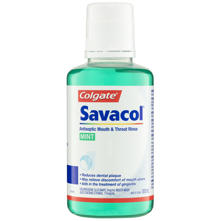 Colgate Savacol Antiseptic Mouth & Throat Rinse Mint 300mL
