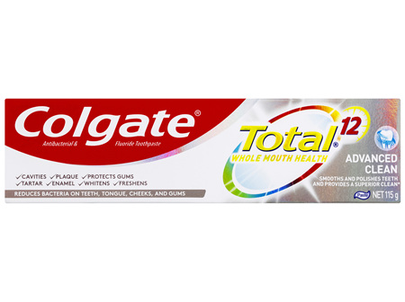 Colgate Total Advanced Clean Antibacterial Toothpaste 115g, Whole Mouth Health, Multi Benefit