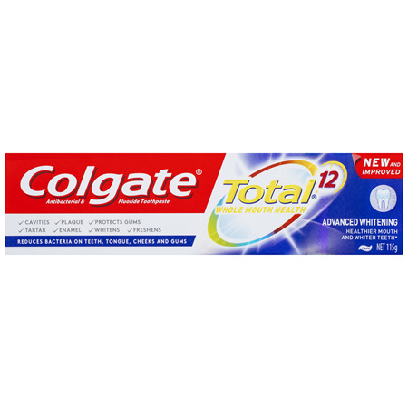 Colgate Total Advanced Whitening Antibacterial Toothpaste 115g, Whole Mouth Health, Multi Benefit