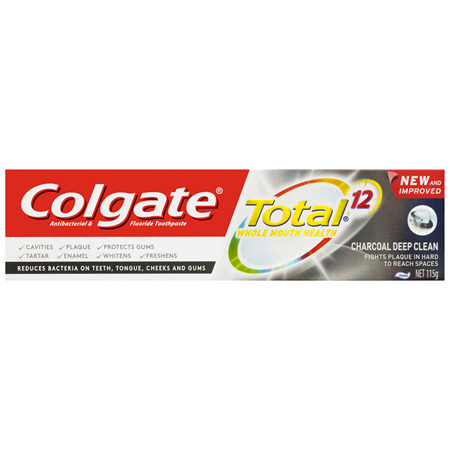 Colgate Total Charcoal Deep Clean Antibacterial Fluoride Toothpaste 115g