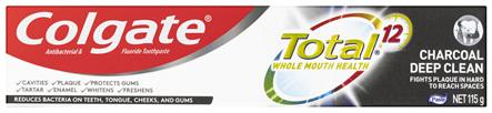 Colgate Total Charcoal Deep Clean Antibacterial Toothpaste 115g, Multi Benefit