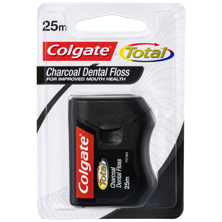 Colgate Total Charcoal Dental Floss, 25m, Protects Gums & Reduces Tooth Decay