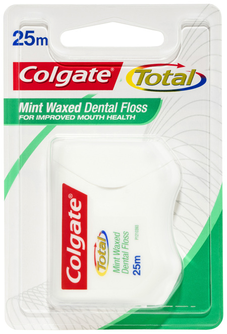 Colgate Total Mint Waxed Dental Floss, 25m, Protects Gums & Reduces Tooth Decay
