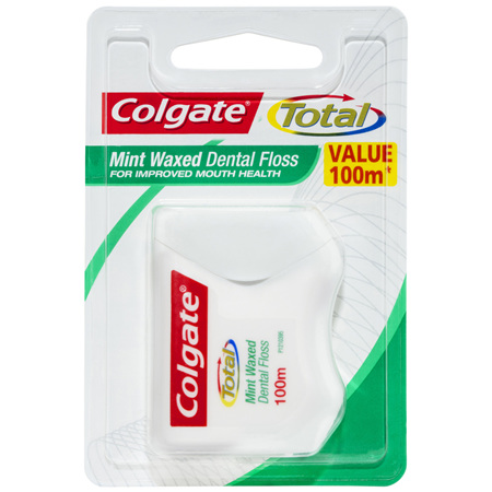 Colgate Total Mint Waxed Dental Floss, Value 100m, Protects Gums & Reduces Tooth Decay