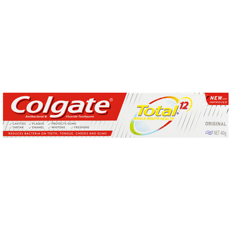 Colgate Total Original Antibacterial Toothpaste, 40g, Travel Size, Whole Mouth Health, Multi