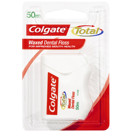 Colgate Total Waxed Dental Floss, 50m, Protects Gums & Reduces Tooth Decay