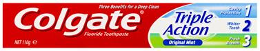Colgate Triple Action Cavity Protection Toothpaste, 110g, Original Mint Flavour