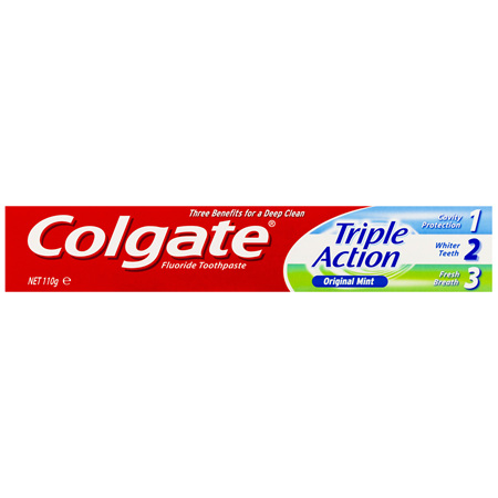 Colgate Triple Action Toothpaste, 110g, Original Mint, with Extra Micro Cleaning Minerals
