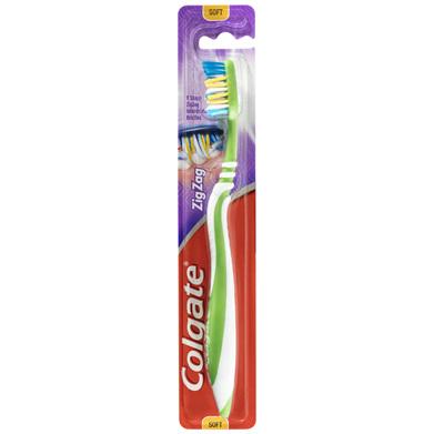 Colgate ZigZag Deep Interdental Clean Toothbrush 25% Recycled Plastic Handle Soft Bristles 1 Pack