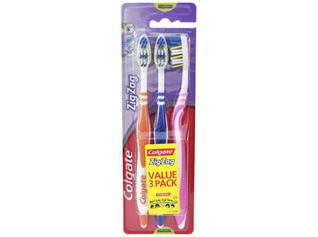 Colgate ZigZag Deep Interdental Clean Toothbrush Medium Value 3 Pack