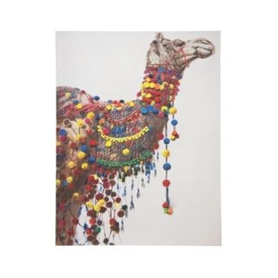 Colin Camel Canvas Print W Pom Pom Embellishment 90x120cm