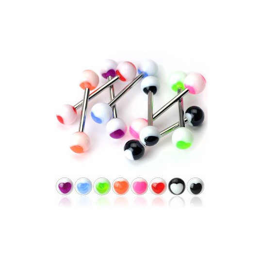 Colored Heart Acrylic Balls 316L Surgical Steel Barbell