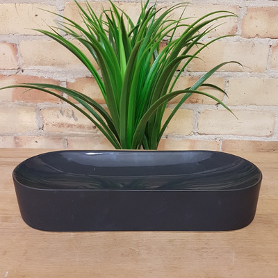 Concave Oval Bowl Black Ceramic 32cm