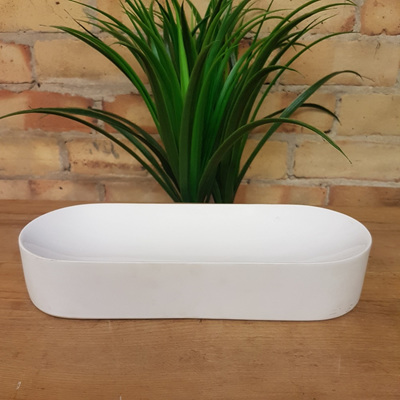 Concave Oval Bowl White Ceramic 32cm