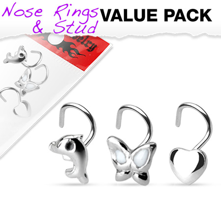 .925 Stirling Silver 3 Piece Nose Screw Pack